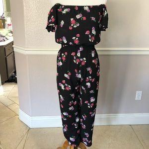 Express off the shoulder floral jumpsuit